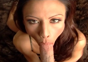 Asian cougar Jayna Oso delivering a nice blowjob to a big cock in POV