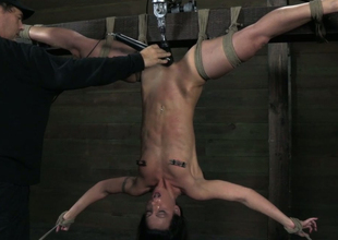 Hanging upside down ugly brunette receives twat teased with dildo