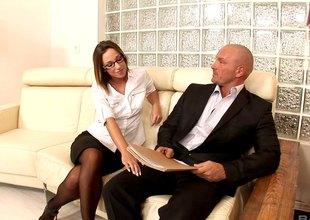 Jada Stevens alluring office secretary seduced her boss before she got screwed