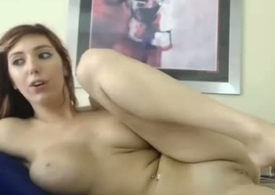 Buxom non-professional chick fondling her pussy on webcam