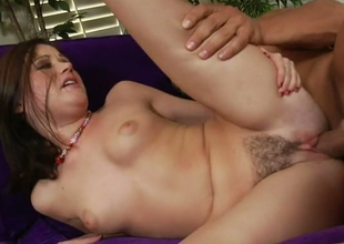 Sweet brunette girl Sindee Jennings gets her pussy shoved