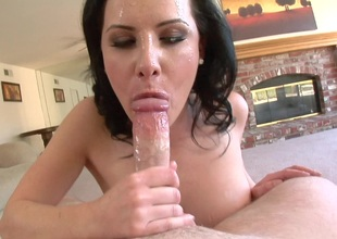 After a wicked POV blowjob she opens wide and swallows his hot load