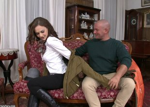 Tina Kay rides on a lengthy 10-Pounder then swallows cum from the very same tool