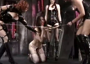 This wanton hoe is helpless and she is having a hard time in the dungeon