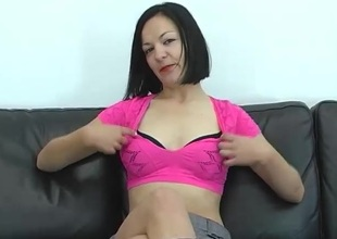 Dashing dilettante cougar receives cum on her scoops after getting her face fucked in an enticing mmf threesome