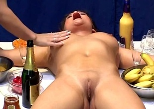 Lovely hot ass porn hotties in a naughty lesbo food adventure