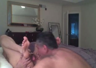 Grey haired husband eats and fucks wet pussy of his wifey on cam