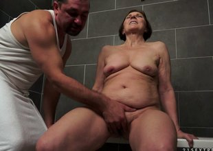 Horny mature granny got bonked in her ottoman by her step son