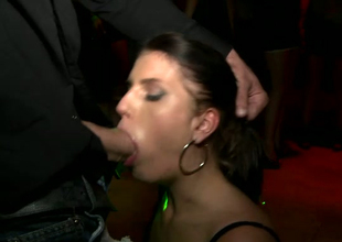 Greedy for cum Kristine Crystalis gives blowjob right on the dance floor