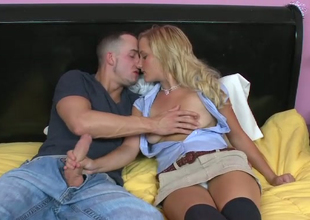 Blonde Liyla Shay is fond of giant hose sticking out of jeans