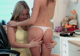 Sweet lesbian gal Inna seduces her beautiful GF in the dressing rooom