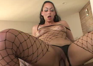 Bootyful hoochie in fishnet stockings banged brutally in black on black porn episode