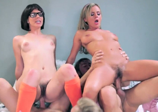 Two luscious girls Bree and Bobbi fuck in dirty foursome session