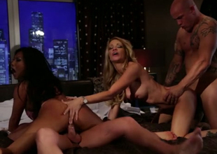 Gorgeous sex bombs fucking passionately in foursome action