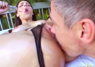 Valentina Nappi gets her mouth attacked by Mick Blues hard schlong after this babe gets fucked in her bum
