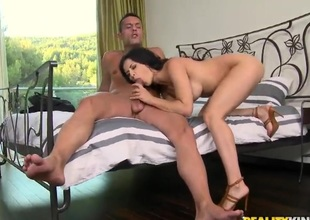 Billie Star with giant jugs and trimmed beaver enjoys throbbing rod deep inside her back swing