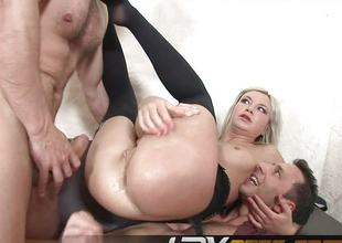 Blond DPed in 3some