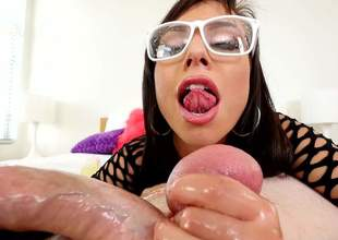 Brunette with glasses Aidra Fox sucks Jonni Darkkos large balls from your point of view. Nothing can stop nasty hotty in fishnet dress from licking his nuts again and again