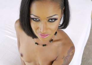 Dark skinned pornstar Skin Diamond in black nylons shows off her pretty small tits as she gives interracial orall-service to Winston Burbank from your point of view. Watch tattooed ebony suck!
