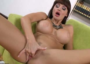 Brunette Aletta Ocean disrobes down to her exposed skin to play with her fuck hole naked