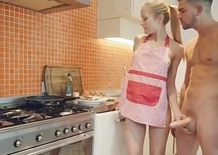 Steak & Blowjob Day - Blonde babe makes rod explode
