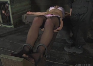Lusty chick is tying up sweet chick for torment session