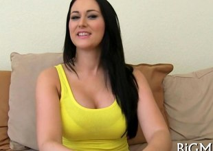 Silky raven with massive jugs gives an interview and gets drilled