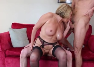 Talented mature slut makes two young guys feel good