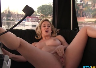 Charming blonde milf with natural big billibongs vibrates pussy pov