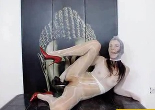 Nylon mask and high heels