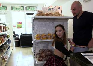Lucky bald man fucks a nice-looking teenage girl in the mini market