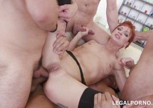 Redhead milf slut gets her gaping asshole double stuffed