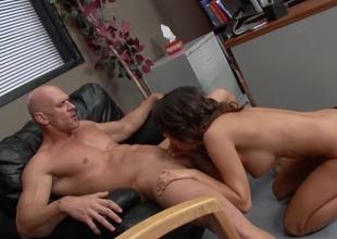 Handsome bald dude fucks a big boobed brunette whore so hard