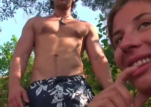 Hawt blond is getting penetrated by guys in the forest