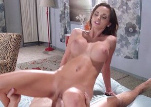 Brunette hair starlet with big boobies gets nailed by a super hawt stud