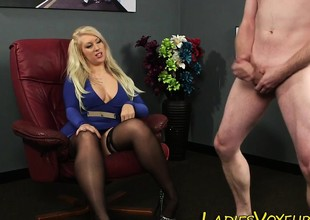 Cfnm dominatrix-bitch teases dude